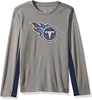 Outerstuff NFL Youth Boys Mainframe Long Sleeve Performance Tee-Light Charcoal-M(10-12), Tennessee Titans
