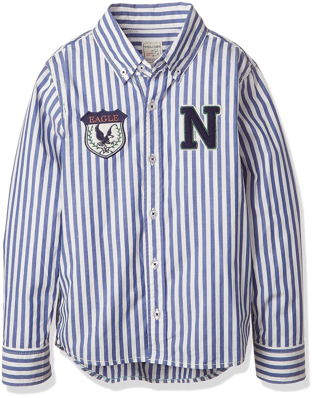 (マザウェイズ)Motherways ボーイズ F.CHIPS ストライプ布帛長袖シャツ