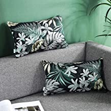 AmHoo Tropical Leaves Throw Pillow Covers Plants Home Decorative Plants Nordic Style Square Cushion Cover, 12x20 Inch,Pack of 2,Green