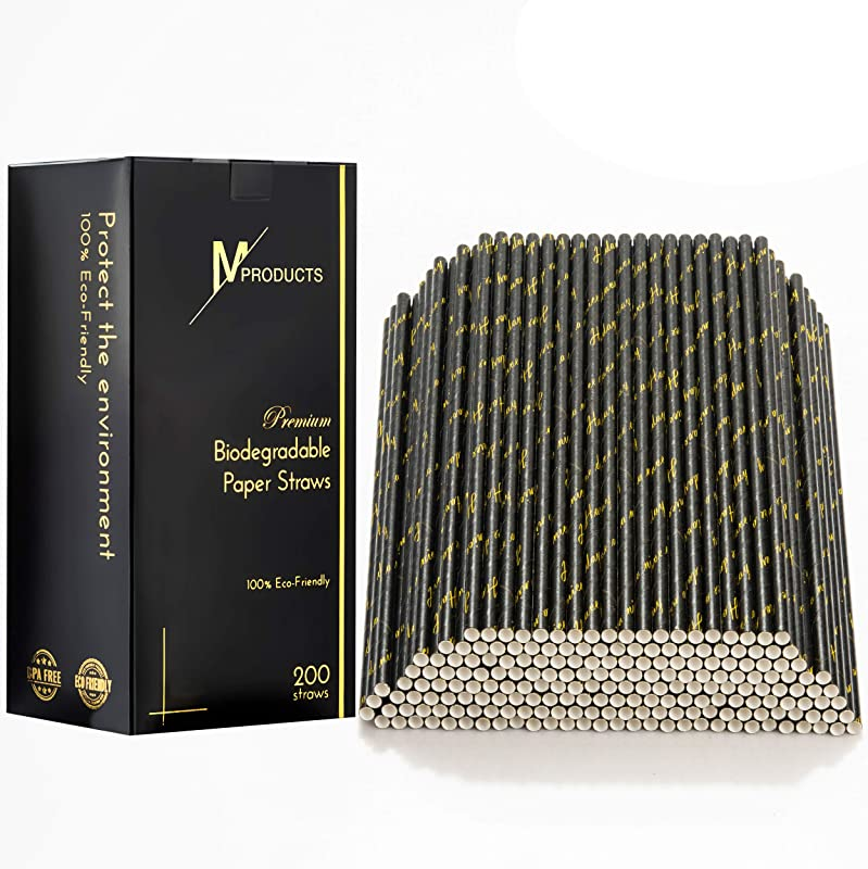 200 Pack Paper Straws Disposable Biodegradable Drinking Straws Unique Black Gold Elegant Design Have A Nice Day Inscription Ideal For Special Events Wedding Birthday Party Home Use