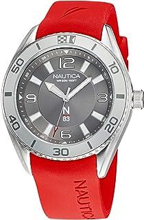 ساعة نوتيكا للرجال ستانلس ستيل كوارتز بسوار من السيليكون، احمر، 22 كاجوال موديل NAFWS128