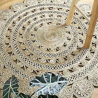 Outlavish Round Jute Area Rug Woven Golden Leaf Handmade (4 Feet, Natural)