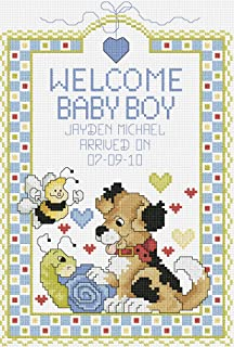 Janlynn 80-0469 14 Count Welcome Baby Boy Sampler Counted Cross Stitch Kit, 7-Inch by 10-Inch
