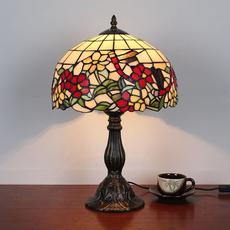 Home Déco Outlets 12-Zoll-Weinlese-Pastoral blühende Blaume Drangonfly Drangonfly Drangonfly Buntglas Art-Tabellen-Lampen-Schlafzimmer-Lampen-Nachttischlampe B071L6RLBP   | Modisch  ceeba7