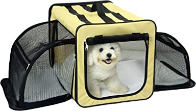 Pet Life 'Capacious' Dual-Sided Expandable Spacious Wire Folding Collapsible Lightweight Pet Dog Crate Carrier House, Medium, Khaki