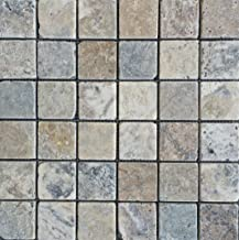 Antique Onyx 2x2 Tumbled Travertine Mosaic Aged Look, Flooring, Backsplash, Walls