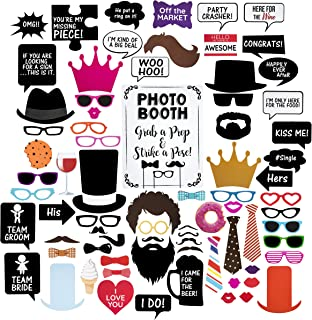 Wedding Photo Booth Props - Set with Chalkboard Style White Sign, Wooden Sticks and Stand - 75 Pieces