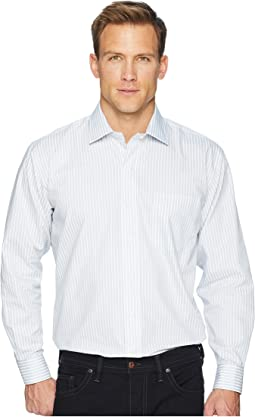 Long Sleeve Magnetically-Infused Stripe Dress Shirt - Spread Collar