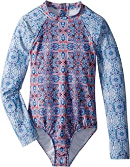 Seafolly Kids Boho Tile Long Sleeve Surf Tank (Little Kids/Big Kids)