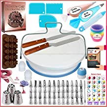 150 PCs Cake Decorating Supplies Kit for Beginners-1 Turntable stand-48 Numbered icing tips with pattern chart & E.Book-1 ...