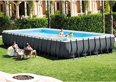 Intex 26373EH 32ft x 16ft x 52in Ultra XTR Frame Above Ground Rectangular Swimming Pool Set with Sand Filter Pump, Ladder, Co