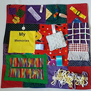 "Memory Loss Fidget Quilt Alzheimer's Blanket Dementia Toy with My Memories Picture Pocket Holder. Size 22"" x 22"""