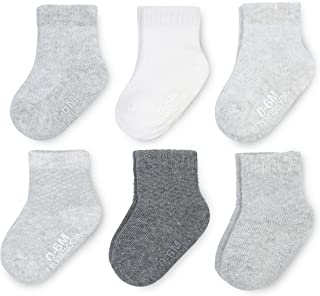 Baby 6-Pack All Weather Crew-Length Socks, Mesh & Thermal Stretch - Unisex, Girls, Boys