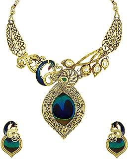 Zaveri Pearls Non Precious Metal Beautiful Peacock Necklace Set (Golden) (ZPFK5486) for Women