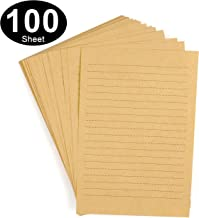 CenterZ 100 Sheets Vintage Kraft Stationary Paper 5.71 x 8.27 inch, A5 Size 120gsm Lined Stationery Writing Letter Papers Bulk Set for Personalized Letters, Creative Poems, Lyrics, Office Notes, etc
