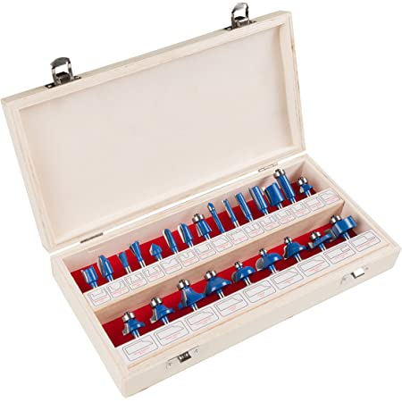 """Stalwart - RBS024 Router Bit Set- 24 Piece Kit with ¼"""" Shank and Wood Storage Case By (Woodworking Tools for Home Improvement and DIY) Wood"""