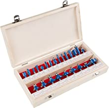 """Router Bit Set- 24 Piece Kit with ¼"""" Shank and Wood Storage Case By Stalwart (Woodworking Tools for Home Improvement and DIY)"""
