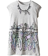Stella McCartney Kids - Joni Jersey Dress with Feather and Belt Graphic (Toddler/Little Kids/Big Kids)