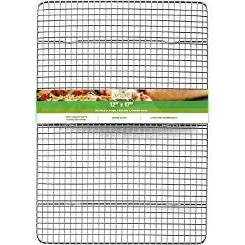 Spring Chef Cooling Rack - Baking Rack - Heavy Duty, 100% Stainless Steel, Oven Safe, 12 x 17 Inches Fits Half Sheet Cookie Pan