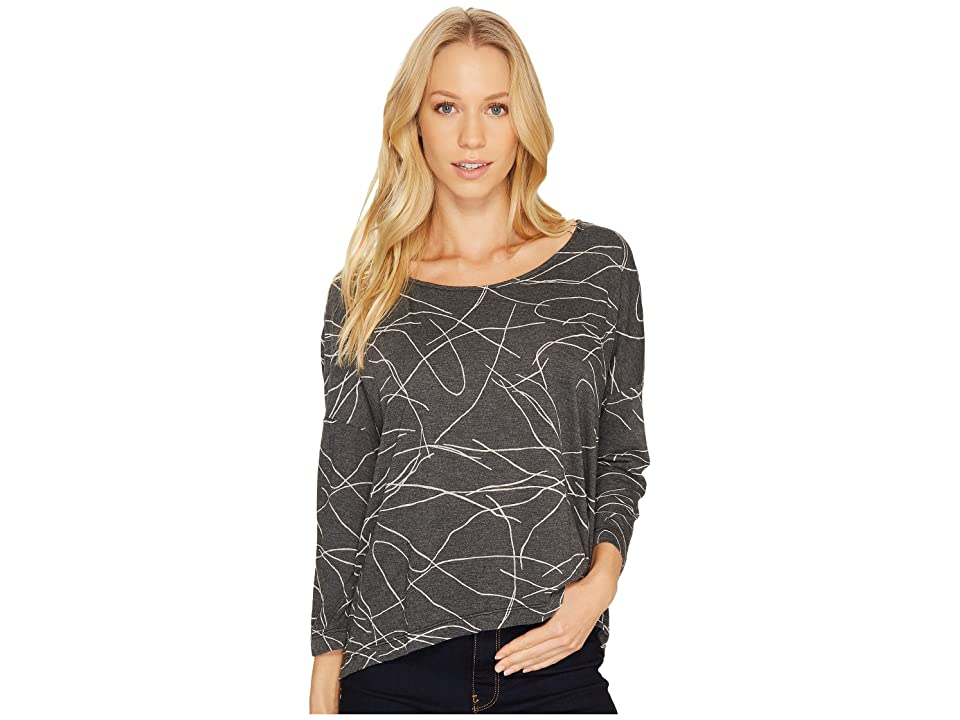 Three Dots Squiggle Burnout High-Low Long Sleeve (Black) Women