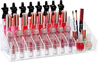 MyGift Home Decor Clear Acrylic Counter Top Cosmetic Storage Tray/Lipstick Organizer/Display Rack