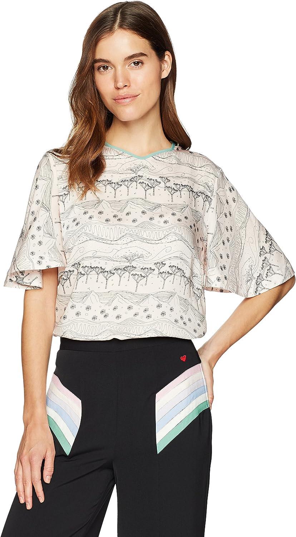 Dear Drew by Drew Barrymore Womens Joshua Tree Silky Short Sleeve Blouse Blouse