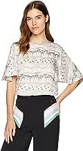 Dear Drew by Drew Barrymore Women's Joshua Tree Silky Short Sleeve Blouse