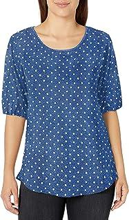 Star Vixen Women's Plus-Size Elbow Sleeve Keyhole Back Shirttail Hem Top