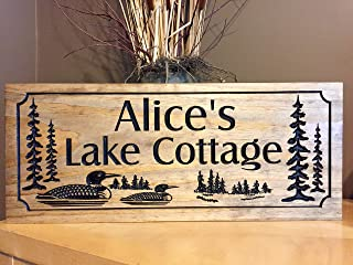 Olga212Patrick Family Lake House Signs Welcome Signs Loons Ducks Wood Printed Sign Personalized wooden Sign Cabin Sign Rustic Cottage Sign s
