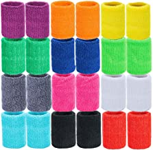 MOOKLIN 24 stuks absorberende zweetbanden, sportpolsbandenset voor basketbal, voetbal, atletiek (12 paar, willekeurige kleur)