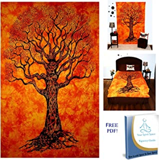 Your Spirit Space (TM Orange Tree of Life Tapestry- Good Luck. Quality for Home or Dorms Psychedelic Hippie Contemporary Canvas Wall Hanging Art The Ultimate Bohemian Tapestry Decor