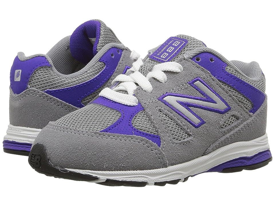 New Balance Kids KJ888v1 (Infant/Toddler) (Grey/Purple) Girls Shoes