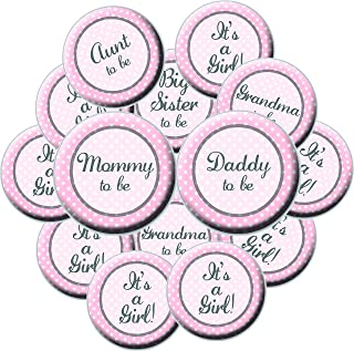 16 Girl Baby Shower Button Set - Pink Baby Shower Buttons - Its A Girl - Mommy Button - Daddy Button