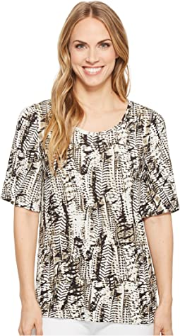 Printed Slub Flutter Sleeve Scoop Neck Top