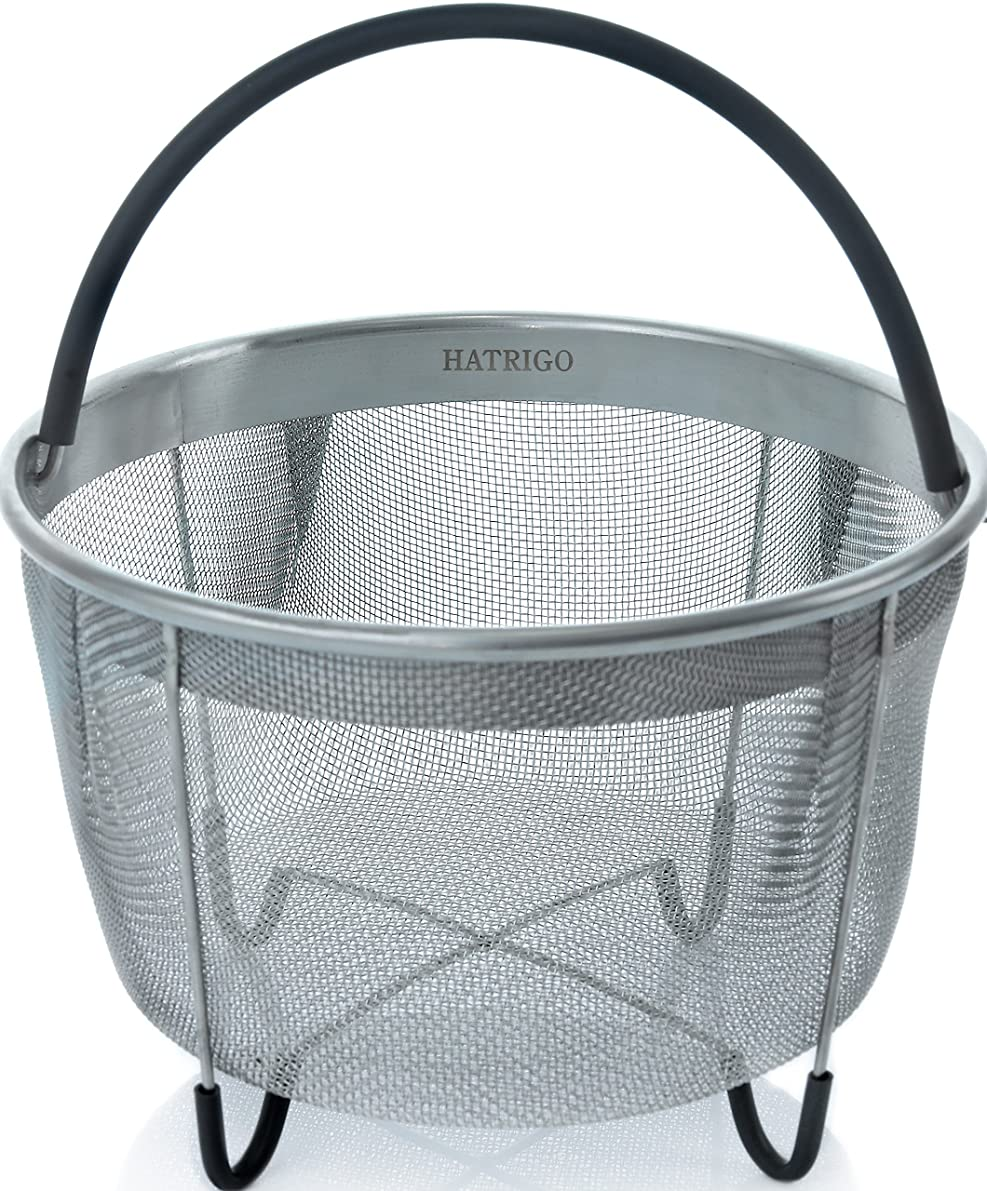 Hatrigo Steamer Basket for Pressure Cooker Accessories 8qt [3qt 6qt Avail] Compatible with Instant Pot Accessories Ninja Foodi Other Multi Cookers, Strainer Insert with Silicone Handle, IP 8 Quart