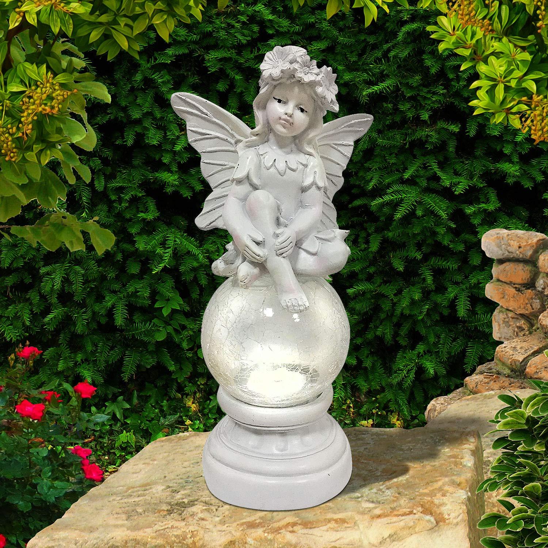 Solalite® Estatua decorativa de hada con luz solar de bola agrietada para exteriores, adorno de jardín, mesa: Amazon.es: Iluminación