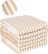 Quick Dry Kitchen Towels & Dishcloth, Highly Absorbent & Quick Dry, Professional Grade Cotton Tea Towels for Everyday Cooking and Baking - French Vintage Stripes - 6 Pack - 18x28 - Khaki/Linen