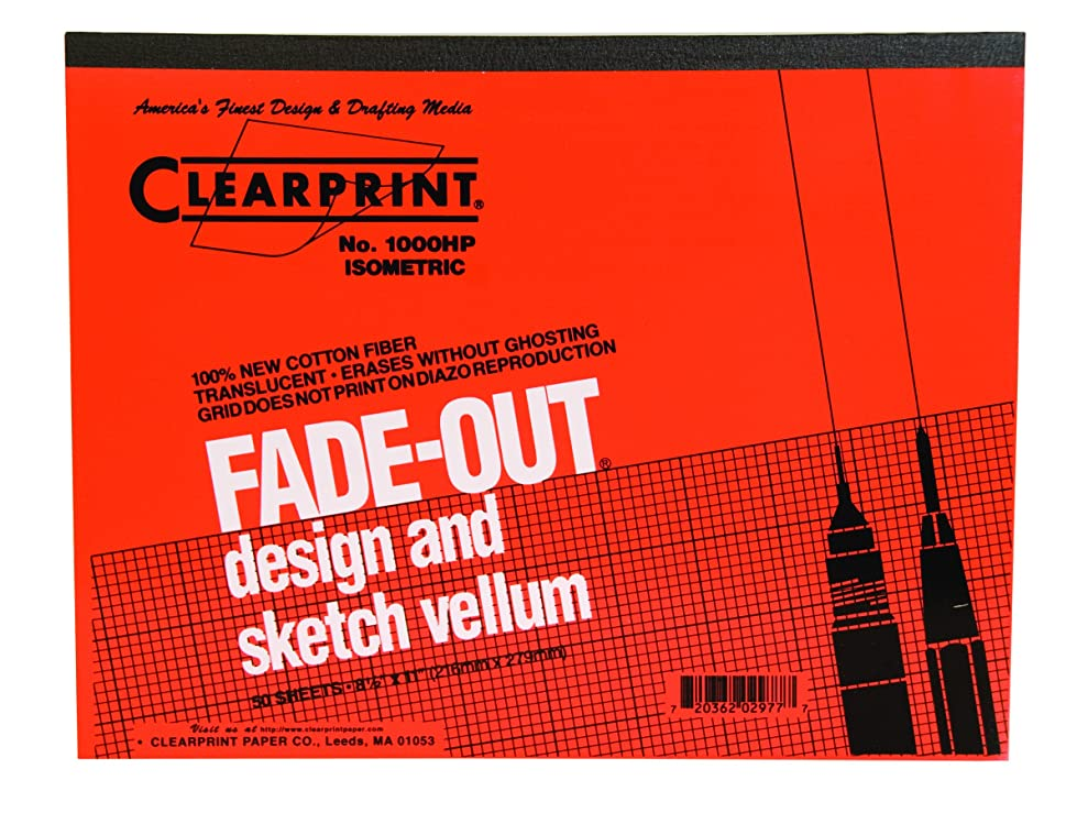 Clearprint 1000H Design Vellum Pad with Printed Fade-Out 30-Degree Isometric Grid, 16 lb, 100% Cotton, 8-1/2 x 11 Inches, 50 Sheets, 1 Each (10005410) iojxqjzdr7920