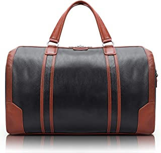 """McKlein Kinzie, Pebble Grain Calfskin Leather, 20"""" Two-Tone, Tablet Carry-All Duffel, Black (18192)"""