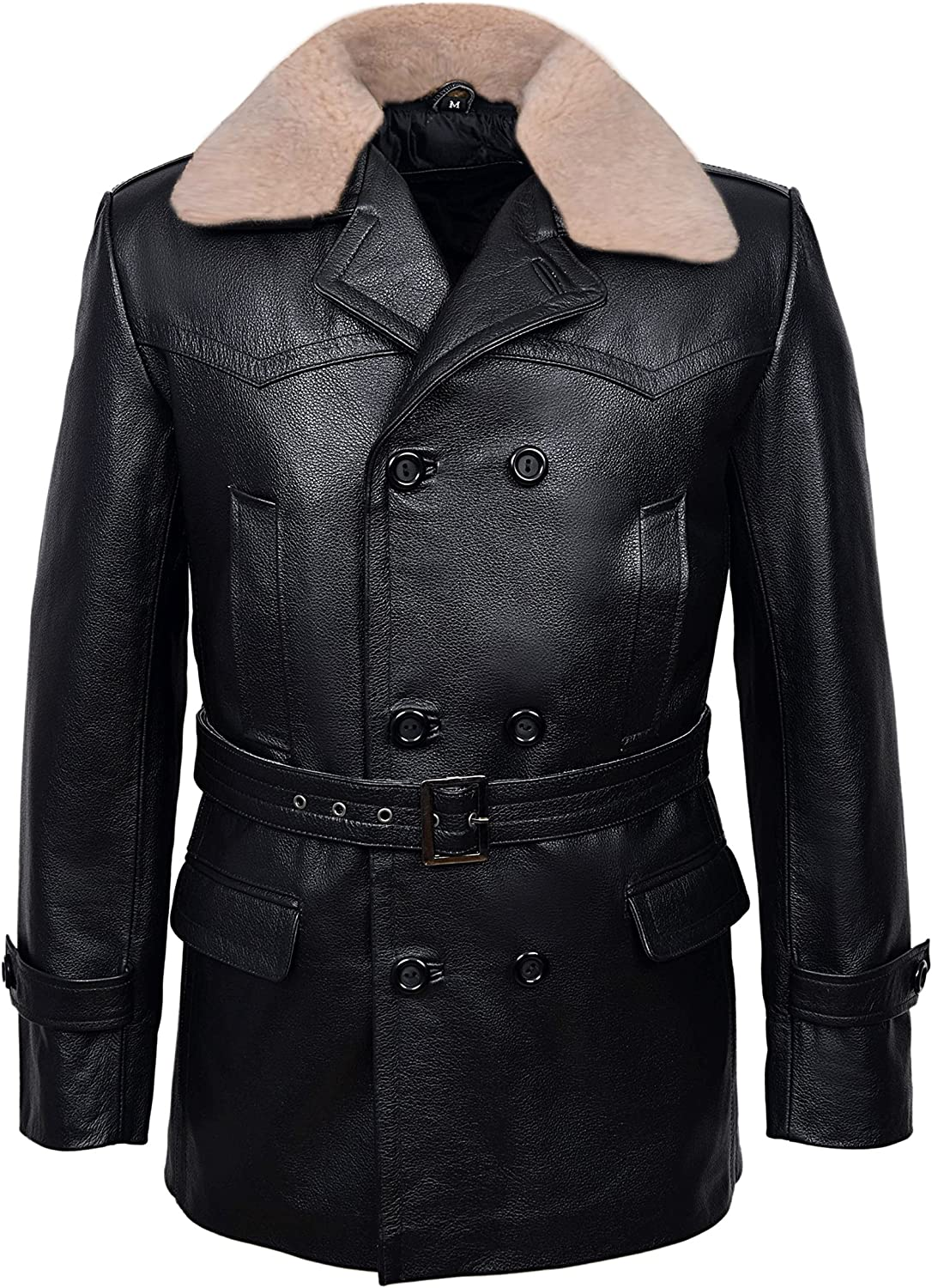 Dr Who Black Real Men's Classic Reefer Military Hide Leather Jacket