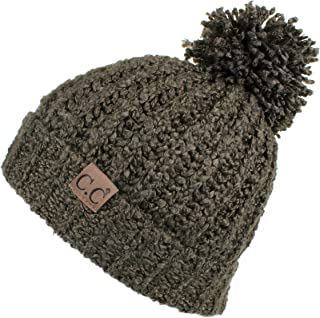 Winter Hat Cable Knitted Large Soft Pom Pom Beanie Hat (HAT-7362)