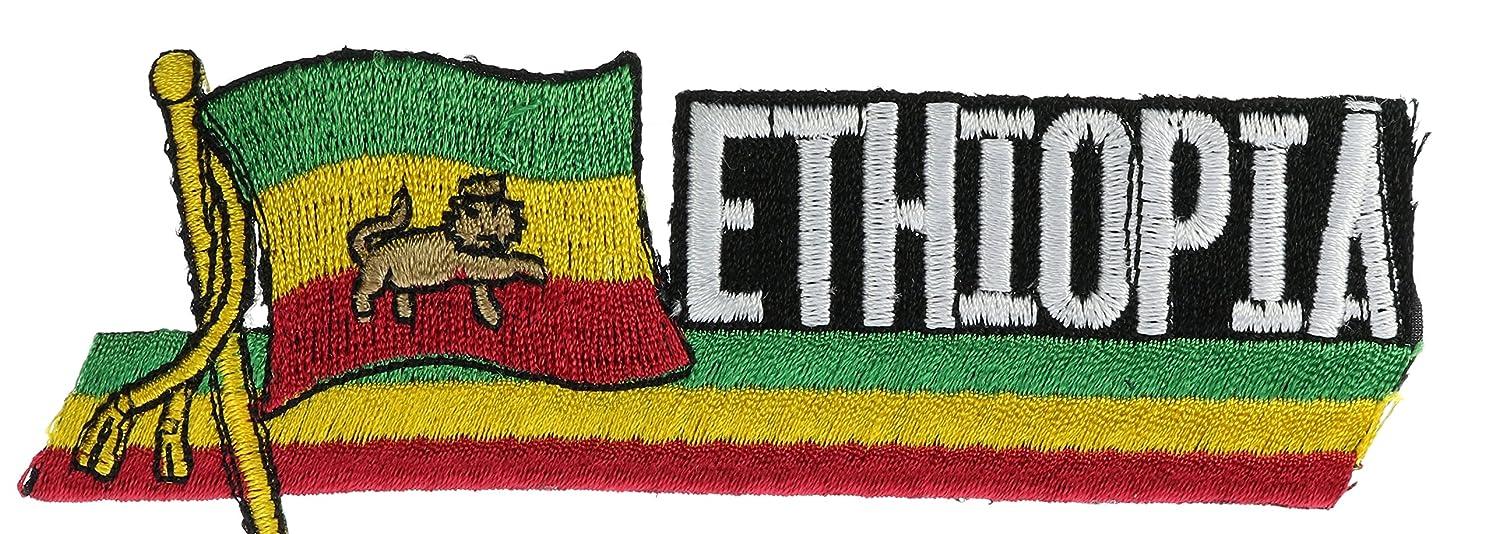 Ethiopia Flag & Title 4 1/2 inch Patch PPMEthiopiaflg8