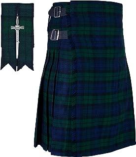 KILTSHOP- Scottish Black Watch Tartan kilt 8 yard Kilts for men with FREE Flashes & Kilt Pin
