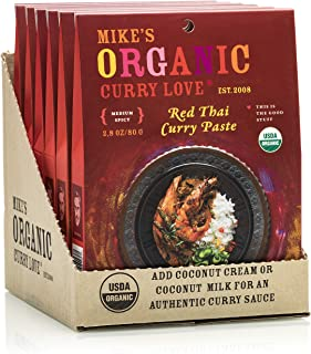 Red Thai Curry Paste ORGANIC. VEGAN. DAIRY FREE. | case of 6 x 2.8 oz pouches