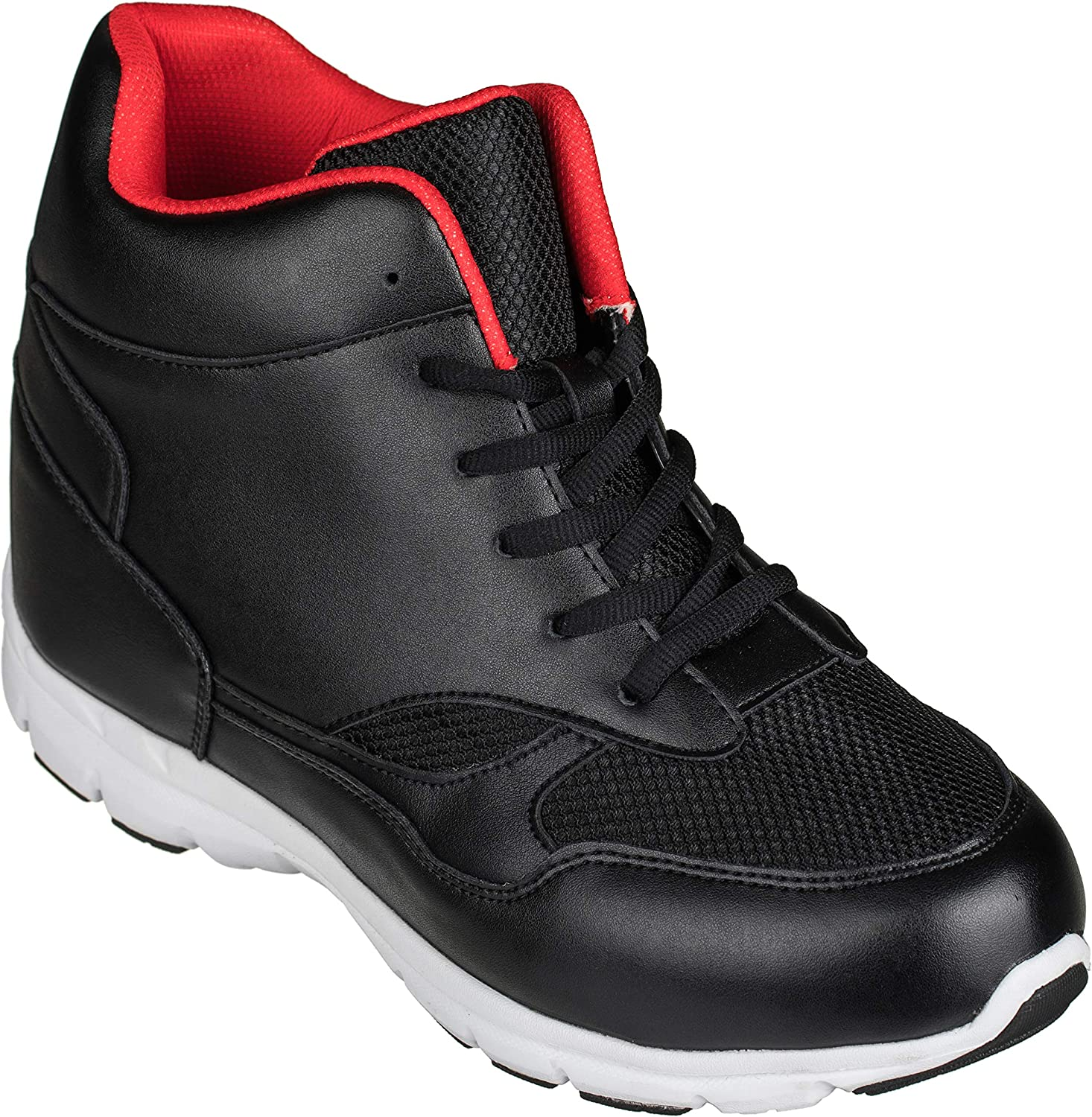 CALTO - G3332-4 Inches Taller - Height Increasing Elevator shoes (Black Red High-top Sneakers)