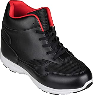 CALTO Men's Invisible Height Increasing Elevator Shoes - Black/Red Leather/Mesh Lace-up Sporty Trainers - 4 Inches Taller - G3332