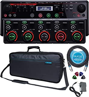 BOSS RC-505 Loop Station with USB MIDI Audio Interface Bundle with Boss Instrument Bag, Blucoil 10-FT Balanced XLR Cable, 4-Pack of Celluloid Guitar Picks and Power Supply AC Adapter
