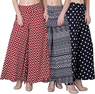 Fablab Women's Multicolor Palazzo Pants with Inner Pack of 3(FLPLCRP-P-3-5,Zigzag-BlueP-Polka)