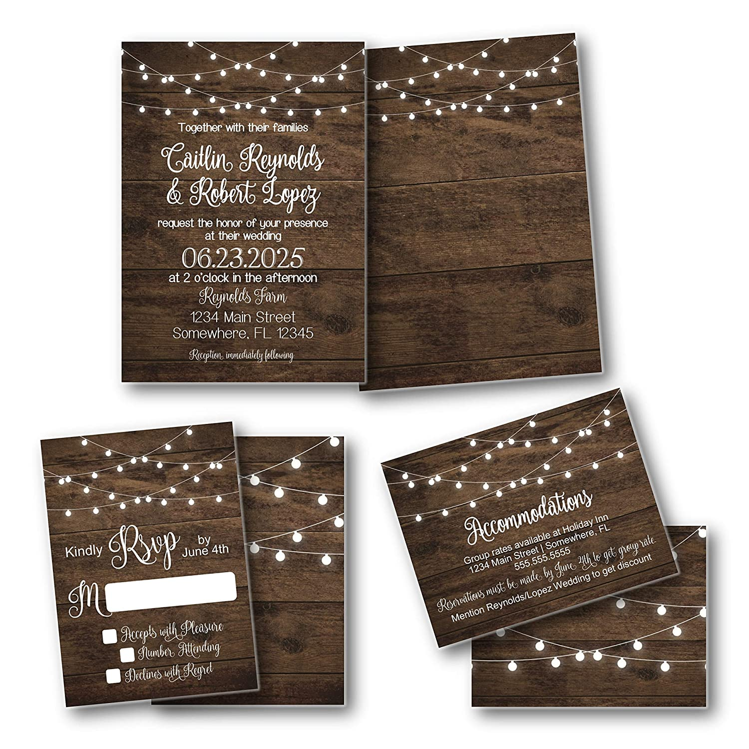 Rustic Wood Recommended Lights shop Wedding with Invitation Suite envelopes
