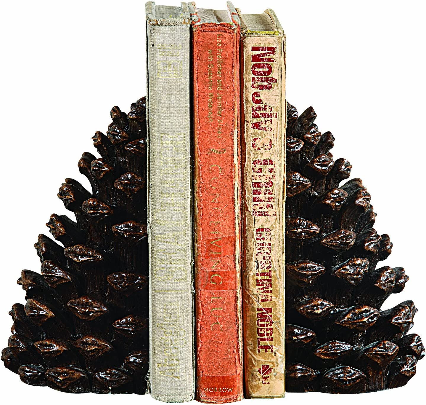 Directly managed store Creative Co-Op Pinecone Shaped Resin of Set 2 cheap Bookends Pieces